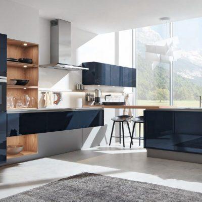 Häcker Küchen Systemat Design AV 4030 GL Samtblau hochglanz | Miele Center Höpperger Küchen Innsbruck | Küchen Tirol